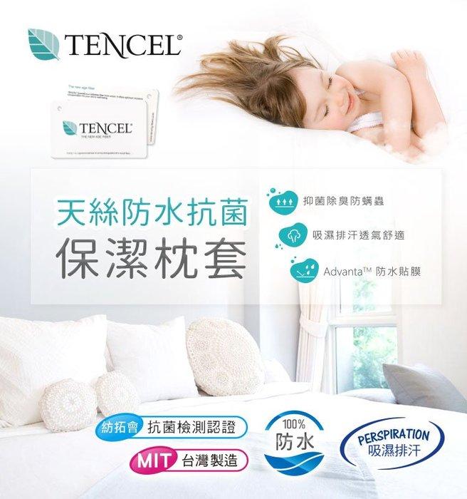 台灣製~吸濕排汗-奢華天絲抑菌防蹣100%防水單一枕頭套  B0012-N