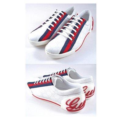 【茱麗葉精品】全新精品 GUCCI 藍紅藍防水帆布鞋(白色/ 38.5號) 台中市