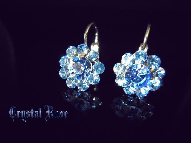 ※水晶玫瑰※ 水晶鑽 耳勾式耳環(DD423)~三件免郵