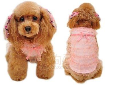 【米狗屋】cute寶石高腰單面蕾絲網狀蛋糕裙禮服-粉色˙小版˙幼犬、瑪爾S、M