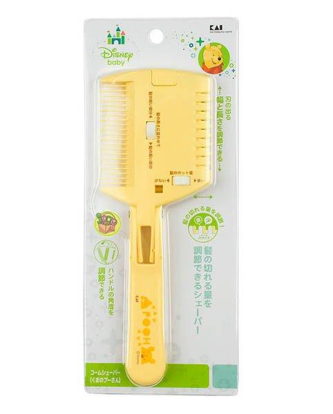 【JPGO】預購-日本製 貝印 x Disney 小熊維尼 可折疊雙頭剪髮梳子 打薄刀 #989