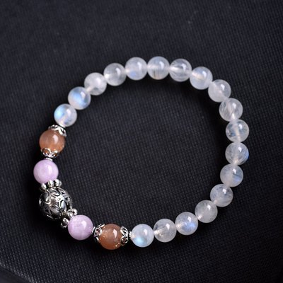 :::*CaWaiiDaisy*:::手創天然石飾品-清透月光石*紫鋰輝*橘太陽石純銀手鍊