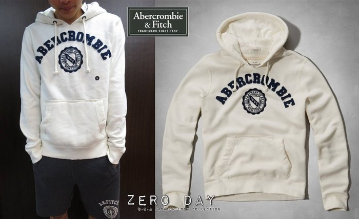 【零時差美國時尚網】A&F Abercrombie&Fitch Beckhorn Trail Hoodie徽章連帽T-白