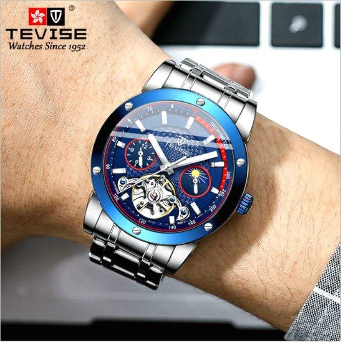新款TEVIES 特威斯 正品豪華自動機械三眼陀飛輪腕錶 日月星辰夜光指針 商務時尚型男手錶【S & C】