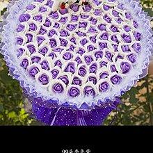 99朵紫色配白色香皂花玫瑰花