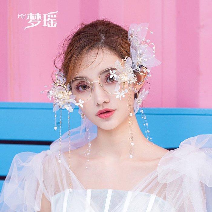 西柚姑娘雜貨鋪☛熱賣中#韓式白色娟紗花朵頭飾唯美清純少女紗裙禮服結婚拍照發飾