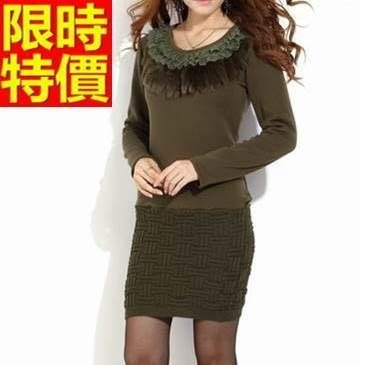 禮服 連身裙-蕾絲圓領金絲絨加厚加絨拼接洋裝5色65aa12[獨家進口][米蘭精品]