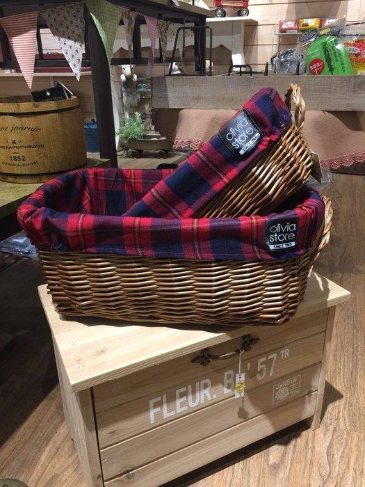 《齊洛瓦鄉村風雜貨》日本zakka 蘇格蘭紅格子風收納籃 雙手提編織籃 帆布可拆洗 (大)