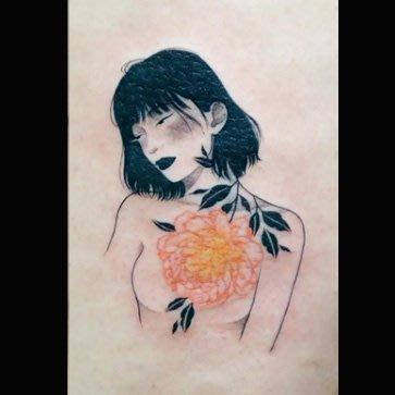 【萌古屋】花朵黑髮美少女13 - 逼真男女防水紋身貼紙刺青貼紙 K61
