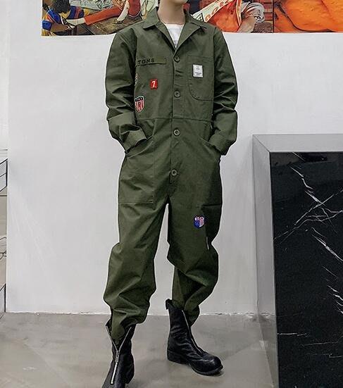 FINDSENSE品牌 韓國 2019 春季 新款 復古 高腰 嘻哈 連體褲 工裝 寬鬆 潮流 連體套裝 時尚