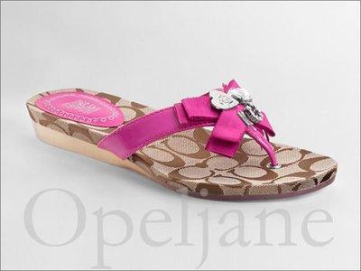 Coach Sandal Shoes 桃紅色 愛心裝飾平底夏日人字夾腳涼鞋子海灘鞋拖鞋8.5號 25.5號 免運費