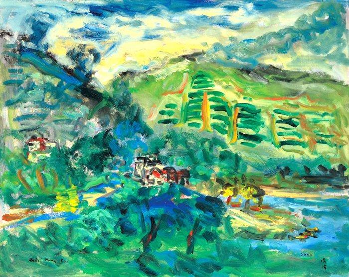 L228 高秀明 灣潭茶園 2000 30號 油畫 (油彩、野獸派、台灣、苗栗、造橋、本土、星期日畫會、張萬傳、蔣瑞坑)