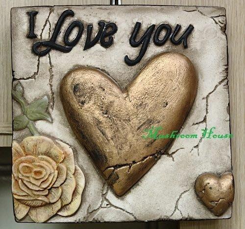 點點蘑菇屋{岩磚畫 璧飾}I LOVE YOU~愛心/單片復古 立體 浮雕正方形掛飾 鄉村雜貨