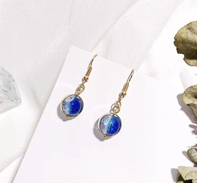 韓版深藍漸層海洋玻璃球耳環