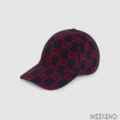 【WEEKEND】 GUCCI GG Wool 羊毛 棒球帽 帽子 鴨舌帽 深藍色 599225