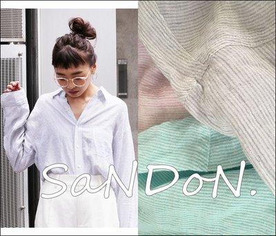 SaNDoN x UNGRID 官網預約販售 天絲大推薦涼爽條紋線條無印口袋 襯衫 上衣 SLY 韓妮 170606