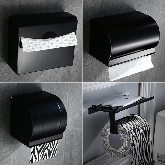 (奇點)太空鋁黑色手機架卷紙巾架 浴室啞黑廁紙架 歐式紙巾盒免打孔#收納用品#