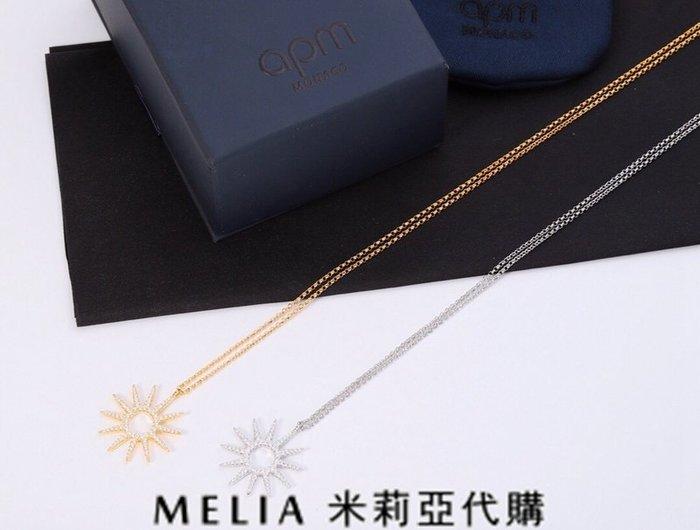 Melia 米莉亞代購 美國代買 APM MONACO18ss 7月新品 飾品 項鍊 度假風格 黃金色銀鑲鑽小太陽