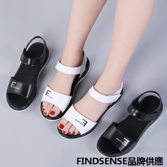 FINDSENSE品牌 新款 日本 女 高品質 真皮 簡約 黑白 舒適 時尚涼鞋 休閒鞋 潮流鞋子