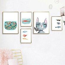 北歐動物貓咪三條魚兒魚群卡通畫芯兒童房組合簡約清新