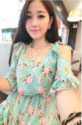 ☆女孩衣著☆韓版立體花朵修身顯瘦公主袖連衣裙(NCO.23)
