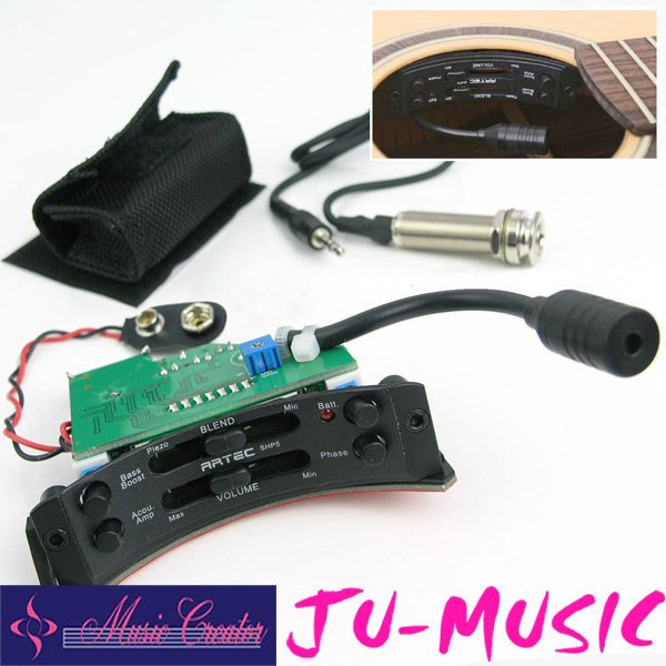 造韻樂器音響- JU-MUSIC - Artec 木吉他 主動式 音孔 半月型 拾音器 SHP5 琴弦 打板 收音效果佳