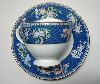 英國 WEDGWOOD Blue Siam 骨瓷兩用杯盤組 一杯一盤