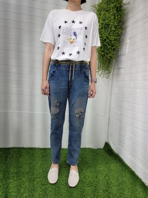 正韓korea韓國製Yanu膝史努比snoopy彈性丹寧牛仔褲 現貨S小齊韓衣