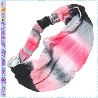 ☆POLLY媽☆歐美進口紅色系、粉桃紅色系渲染漸層彈性網眼紗寬版髮帶