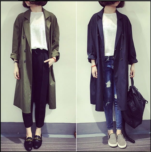 翻領排扣寬鬆長版外套 女生外套 長版外套 百搭款 長版外套 薄外套 【WJ11】