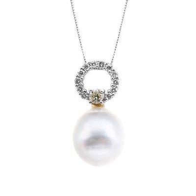 【JHT 金宏總珠寶/GIA鑽石專賣】0.20ct天然珍珠鑽墜/材質:14k(pp00040)