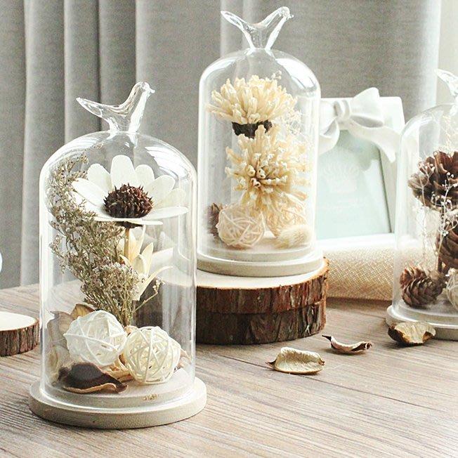 【Tracy's 貓頭鷹小姐】韓國訂單進口高質感玻璃罩乾燥花擺飾/ 家居客廳房間裝飾花瓶多肉創意小物婚禮生日禮物實拍現貨