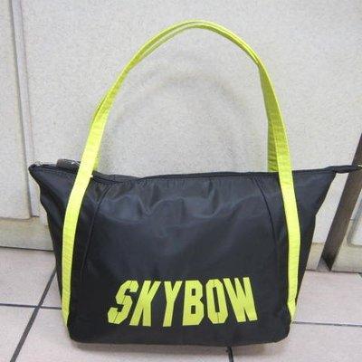 ~雪黛屋~SKYBOW 肩側包托特包可放A4資料夾 隨身物品專用防水尼龍布可肩背手提 SB400-12203黑-綠