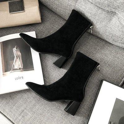 女靴內增高女靴白色女靴子潮牌女靴大尺碼女靴精品女靴大叔家尖頭粗跟短靴女新款秋冬彈力后拉鏈高跟性感顯瘦及踝靴