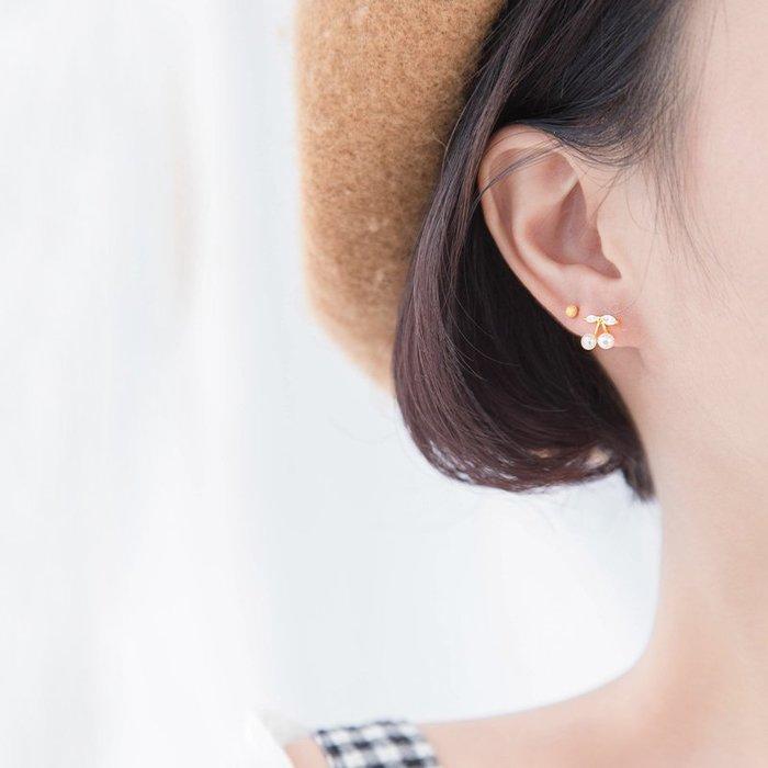 FEI日韓代購~s925純銀櫻桃鑲鉆耳釘珍珠貝殼小耳墜女氣質韓國簡約學生耳環耳飾
