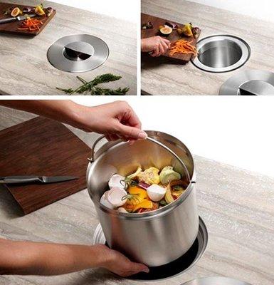 好德[代購] BLANCO SOLON™ COMPOST SYSTEM - 廚房檯面內嵌垃圾桶 - 全不鏽鋼內桶