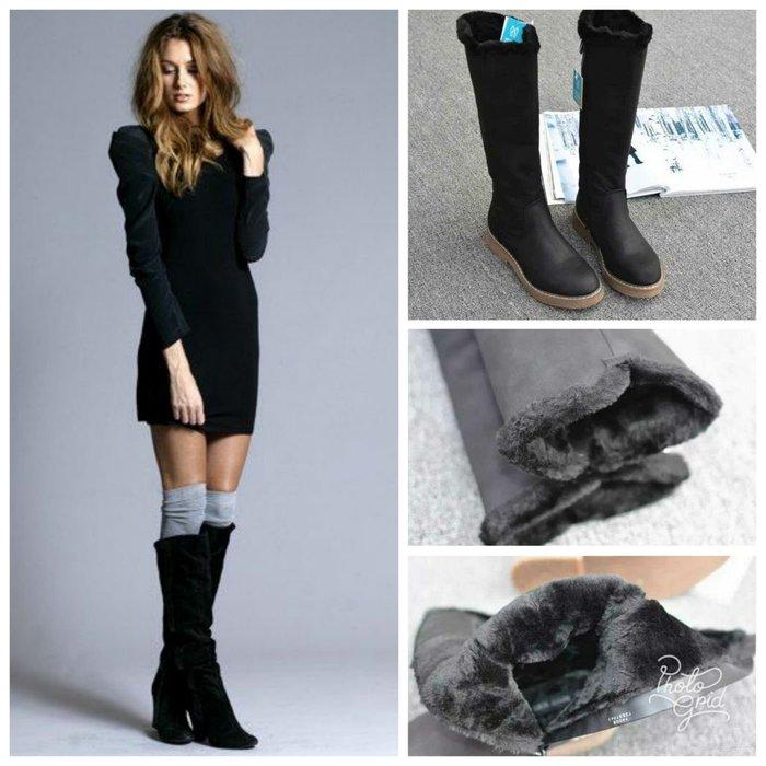 嚴冬豈能無靴 裡面全是毛  法國專櫃 美腿又保暖 皮面內刷毛 長筒靴 (MXZ1)