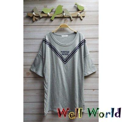 #2360 刺繡字母短袖T恤上衣(韓國製造)  ~$68~