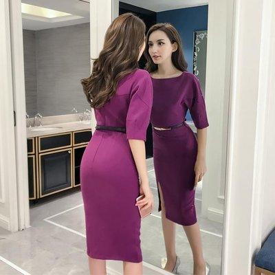 哆啦本鋪 及膝裙 氣質 收腰 顯瘦 開衩 包臀 一步裙 圓領 高腰 修身 D655