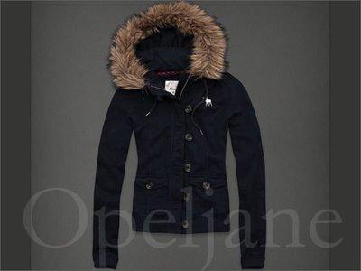 A&F 真品 Abercrombie & Fitch AF麋鹿Hoodie深藍色兔毛連身帽外套 免運費 愛Coach包包