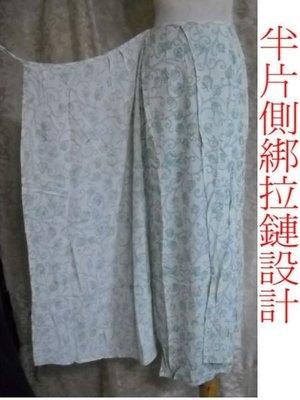 ~麗麗ㄉ大碼舖~#8(28-30吋)淺水藍色印花側綁拉鍊式長裙~全賣場3件免運~小碼拍賣