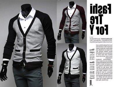 『潮范』新款撞色插肩袖男士休閒長袖開衫針織外套撞色針織衫毛衣素面針織衫NRB03634