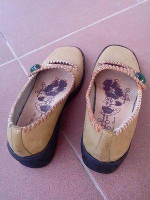麥坎納MACANNA 橄欖綠 毛邊娃娃鞋(附原廠鞋盒及袋子喔!)