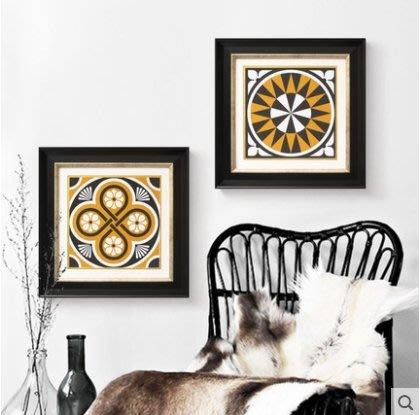 『格倫雅』曼陀羅花紋 美式客廳裝飾畫掛畫沙發背景墻墻畫抽象圖案壁畫^17754