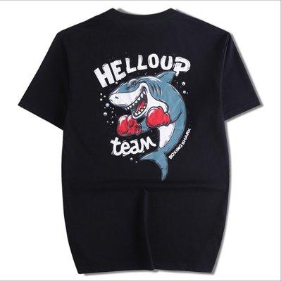 時尚服飾 鯊魚印花短袖T恤男裝夏季中國風國潮個性民族圓領潮牌大碼休閑棉
