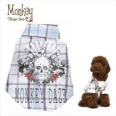 Pet's Talk~美國Monkey Daze超酷假兩件式骷顱頭格子項鍊襯衫 中大型犬也有