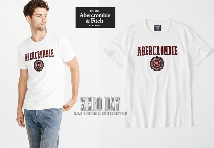 A&F真品Abercrombie&Fitch Heavyweight Applique Logo Tee超厚實美式T-白