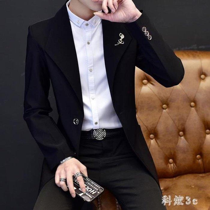大碼小西裝 男中長款風衣修身發型師西服男青年休閒潮薄款外套 js20197『科炫3c』