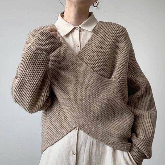 SeyeS  復古簡約設計感日韓系顯瘦交叉V領百搭毛衣