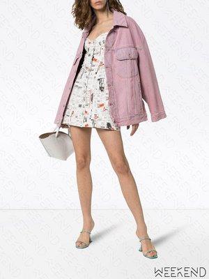 【WEEKEND】 MIAOU Gigi Newspaper 低胸 報紙紋 短袖 連身 短洋 短裙